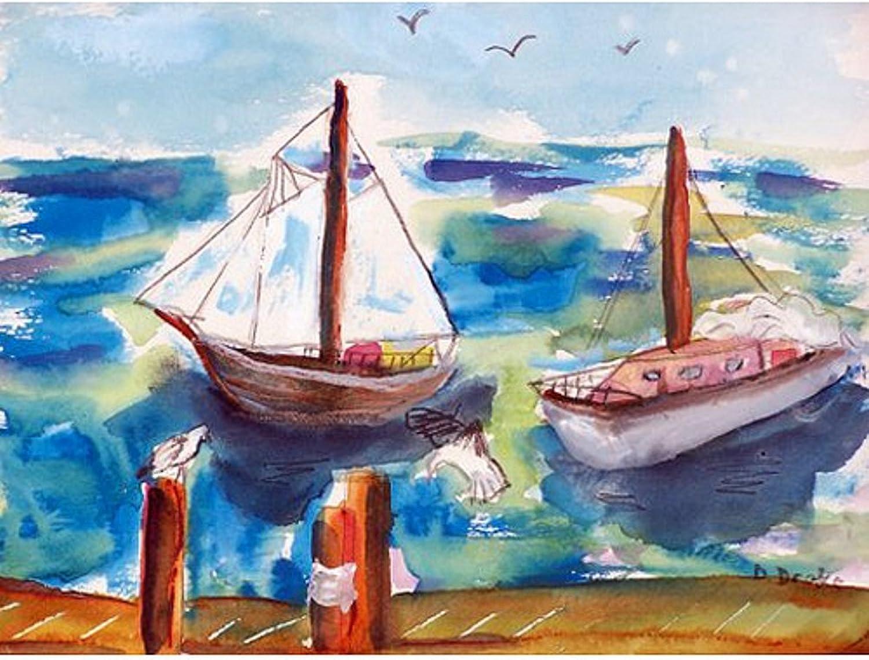 Betsy Drake Two Sailboats Door Mat, DM933-P, Multi, 30  x50