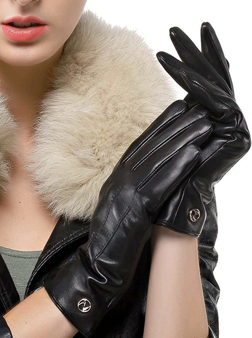 Women's Classic Leather Gloves Lambskin Winter Cashmere Lining Driving Gloves