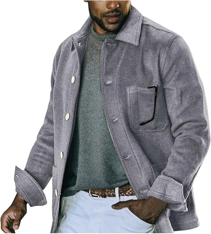 PHSHY Mens Fleece Fuzzy Jackets Coat Winter Warm Windbreaker Overcoat Lightweight Long Sleeve Single Breasted Coats