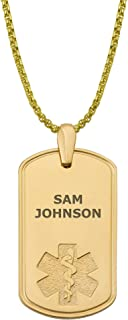 Divoti Deep Custom Laser Engraved Pure Titanium Medical Alert Necklace for Men, Deluxe PVD Gold Tag Medical ID Necklace, Medical Dog Tag w/Free Engraving -One of Various Chains (24/28 in)