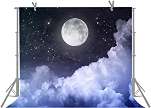 GoEoo Black Moon Photo Props Backdrops for Photography Props Halloween Background Star Vinyl 5x7FT 150cm X 210cm GoEoo-GQ042