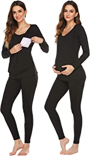 Ekouaer Maternity & Nursing Thermal Underwear Set Knit Long Johns Set Top & Bottom Base Layer for Pregnant Women