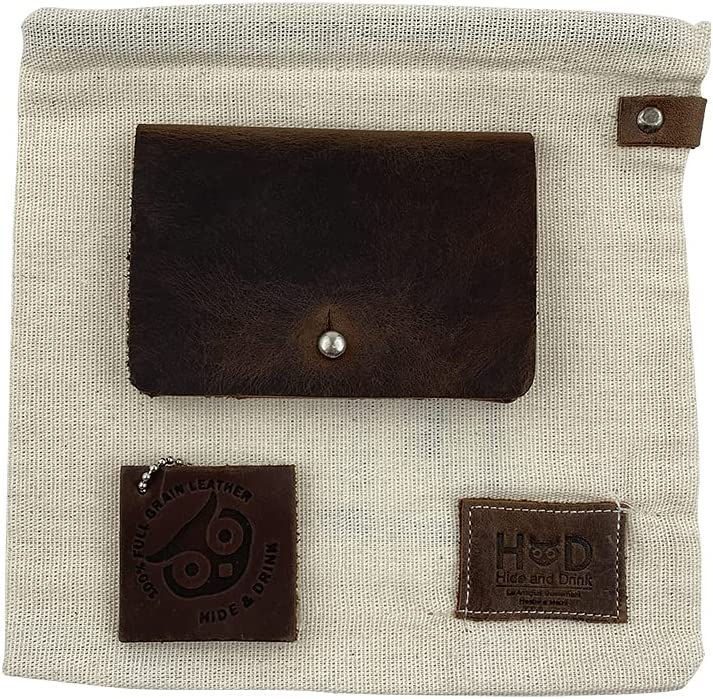 Hide & Drink, Leather Card Holder, Holds Up to 4 Cards Plus Folded Bills & Coins / Pouch / Case / Purse / Cash, Handmade :: Bourbon Brown