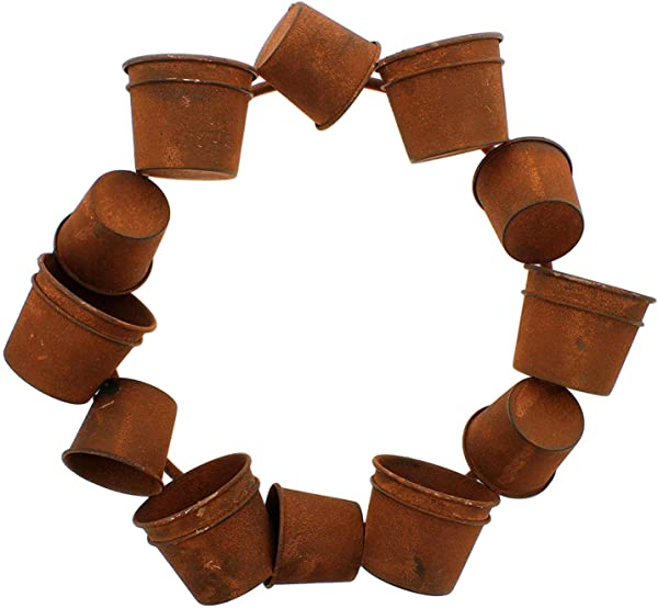 The Bridge Collection Rusty Bucket Large Wreath Wall Sculpture 18 Inches