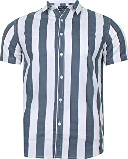 Brave Soul Mens Work Shirt Striped 100% Cotton Light Weight Casual Top