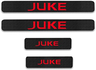 for Nissan Juke Door Sill Protector Reflective 4D Carbon Fiber Sticker Door Entry Guard Door Sill Scuff Plate Stickers Auto Accessories 4Pcs Red