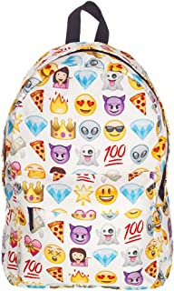 Donalworld Women Smiley Emoji 3D Printing School Canvas Backpack White