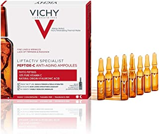 Vichy LiftActiv Peptide-C Ampoule Serum Anti Aging Concentrate, 10% Pure Vitamin C with Hyaluronic Acid and Peptides, Anti...