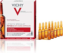 Vichy LiftActiv Peptide-C Ampoule Serum Anti Aging Concentrate, 10% Pure Vitamin C with Hyaluronic Acid and Peptides, Anti Wrinkle Skin Brightening Serum for Face
