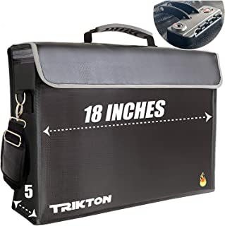 Trikton Super Extra Large 18x13x5 Fireproof Document Safe Bag with TSA-Lock, Holds Legal Size Files Without Bending, XXL B...