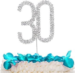 Stoncel gâteau de strass cristal étincelant Argent N ° 10/18/20/30/40/50/60 anniversaire anniversaire Décoration de fête d...