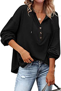 Sponsored Ad - URMOSS Women's Long Sleeve Casual Hoodies Deep V Neck Henley Shirts Drawstring Sweatshirt Pullover Tops