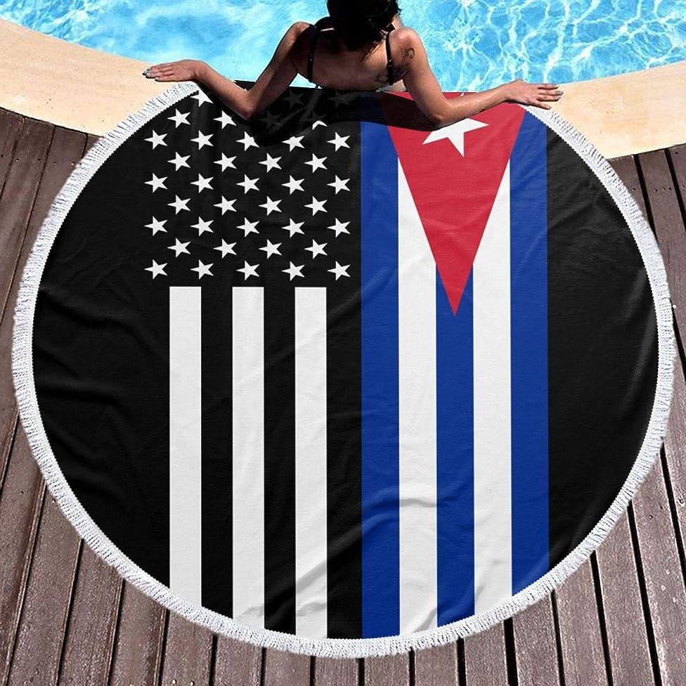 USA Cuba Cuban Flag Round Beach Towel Blanket Microfiber Yoga Mat with Tassels Ultra Soft Multi-Purpose Towel