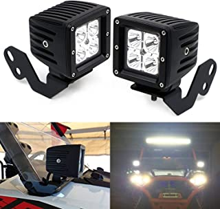 iJDMTOY A-Pillar LED Pod Light Kit For 2014-up Polaris RZR XP 1000, 15-up RZR 900, Includes (2) 20W High Power CREE LED Cubes, Windshield A-Pillar Mounting Brackets & On/Off Switch Wiring Kit