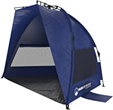 Pop Up Beach Tent- Sun Shelter for Shade with UV Protection, Water and Wind Resistant, Instant Set Up and Carry Bag By Wakeman Outdoors (Blue)
