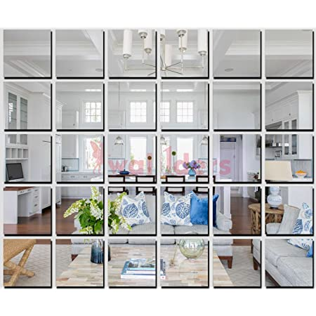 Wall1ders 1Store - Big Square 30 Silver 4 inch (Each Piece Size 10 cm) 3D Acrylic Stickers, 3D Acrylic Mirror Wall Stickers, 3D Mirror Stickers for Wall, 3D Wall Mirror Stickers for Home & Offices.