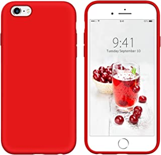 YINLAI iPhone 6S Case Liquid Silicone Red, iPhone 6 Case, Slim Sleek Soft Gel Rubber Cover Microfiber Cloth Lining Cushion Lightweight Shockproof Protective Durable Phone Cases for iPhone 6S/6, Red