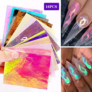 Symphony Nail Decals, 16pcs Holographic Ribbon Tape Art Nail Stickers, Laser Silver Foil Diy Nail Stickers Decoration (Multicolor)