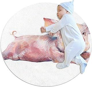 Akvarell söt gris, barn rund matta polyester överkast matta mjuk pedagogisk tvättbar matta barnkammare tipi tält lekmatta