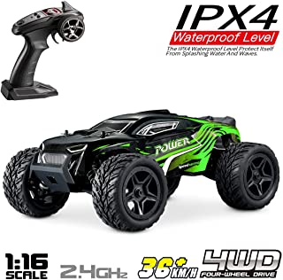 Hosim 1:16 Scale 4WD Remote Control RC Truck G172, High Speed Racing Vehicle 36km/h Radio Controlled Off-Road 2.4Ghz RC Electronic Monster Hobby Truck Buggy for Kids Adults Birthday (Green)
