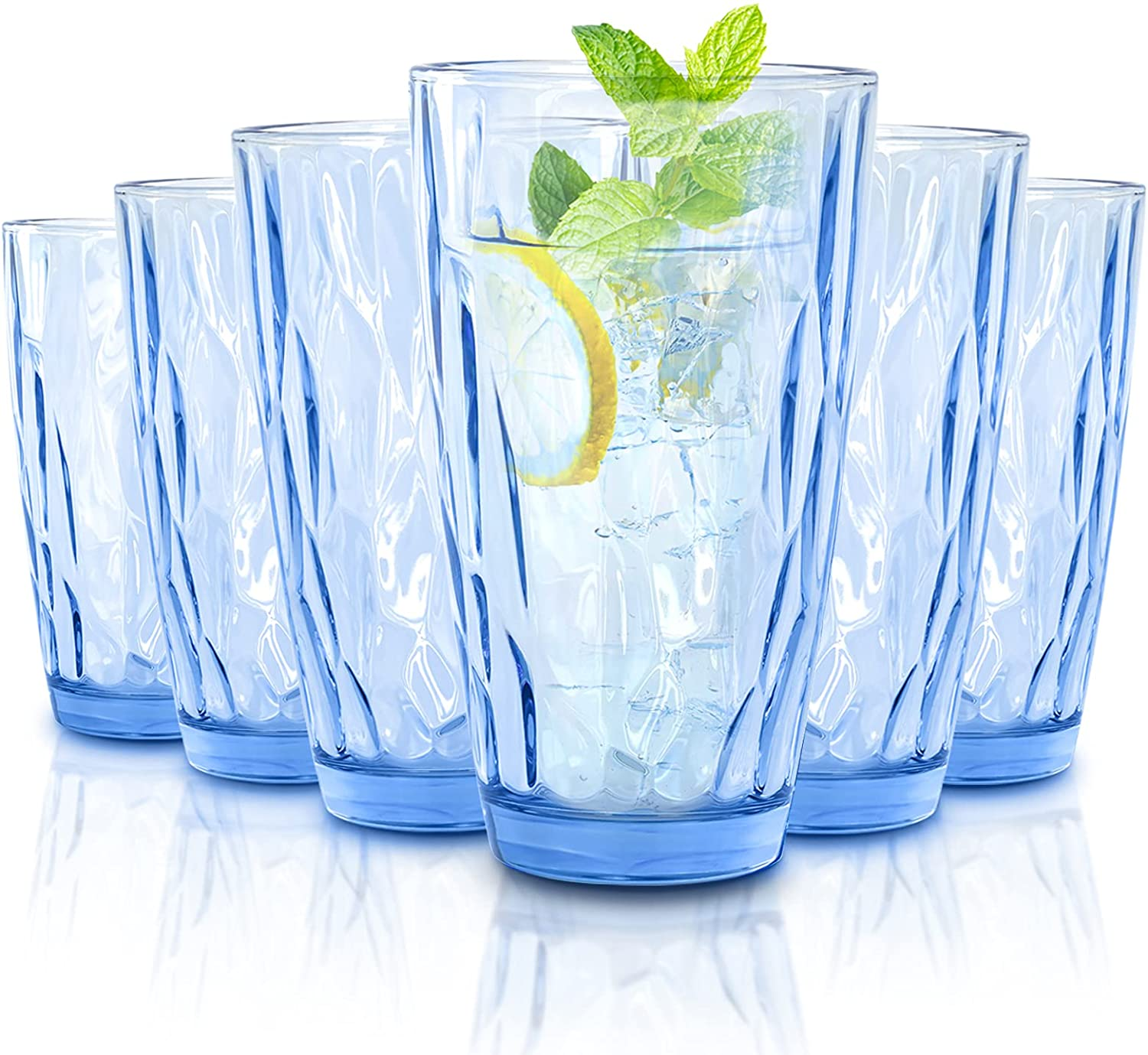 CREATIVELAND Highball Glass Tumbler Light Blue Set of 6, for Water,Cocktail,Juice,Beer,Iced Coffee,Clear Blue Glassware for Bar Kitchen,Thick & Heavy Glass Drinking Glasses with Heavy Base 16oz/450ML