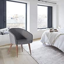 FurnitureR Elegante Silla Decorativa de Tela Sillón Moderno de Tela silenciada con Pata de Metal Gris