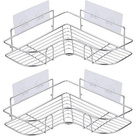 浴室ラック コーナーラック シャンプー調味料収納 ステンレス鋼 強力粘着固定 15kg荷重 水切り 壁掛け棚 スパイスラック お風呂 洗面所 キッチン 台所収納ラック 多機能 2段式 (シルバー)
