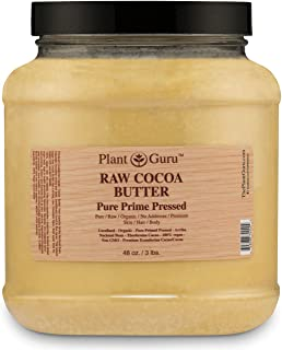 Raw Cocoa Butter 3 lb. Bulk 100% Pure Fresh Natural Cold Pressed. Skin Body and Hair Moisturizer, DIY Creams, Lip Balm, Lotion and Soap Making