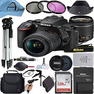 Nikon D5600 デジタル一眼レフカメラ 24.2MPセンサー NIKKOR 18-55mm f/3.5-5.6G VRレンズ SanDisk 128GB メモリーカード ケース 三脚 3パックフィルター Aセルアクセサリーバンドル (ブ...