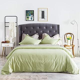SUSYBAO 3 Piece Duvet Cover Set 100% Natural Cotton King Size Green Bedding Set 1 Solid Color Duvet Cover with Hidden Zipp...