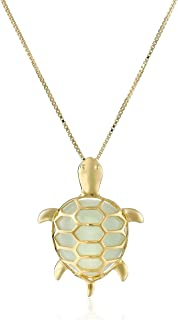 18k Yellow Gold Plated Sterling Silver Genuine Green Jade Turtle Pendant Necklace, 18