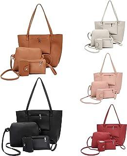 OPALLEY Handtasche Set Damen, 2021 Mode Taschen, 4er Set Tote Bag, Leder Henkeltasche, Umhängetasche, Geldbörse, Kartenhal...