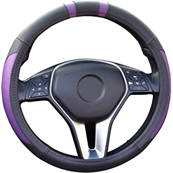 Anti-Slip for Car Universal 15 Inches Truck or SUV Grey CHARAVECTOR Genuine Leather Steering Wheel Cover