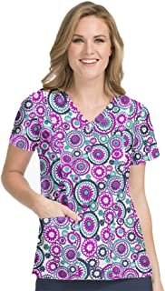 Med Couture Activate Women's in Motion Geometric Print Scrub Top