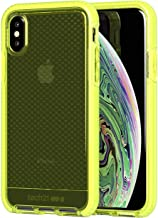Tech Enterprises Protective Apple iPhone X/XS Case Thin Patterned Back Cover with FlexShock - Evo Check - Neon Yellow