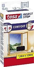 Tesa Insect Stop Comfort vliegengaas voor ramen en insectenbescherming met zelfklevend klittenband (10-pack, 130 cm x 150 cm)