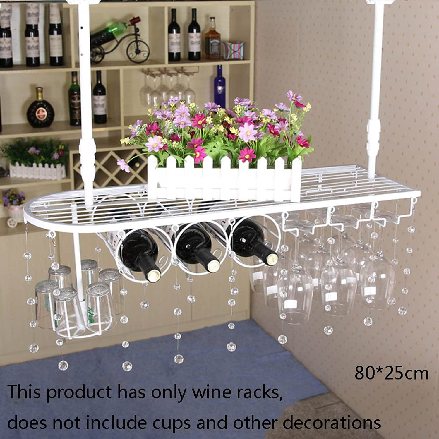 Nationwel@ Iron Wall Hanging White Wine Rack Goblet Holder Cup Holder Red Wine Glass Holder, Multifunction bar Cabinet Cupboard Ornaments (Size   80  25cm)