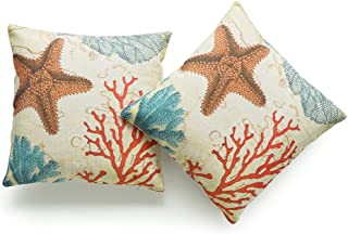 "Hofdeco Decorative Throw Pillow Cover Heavy Weight Cotton Linen Vintage Caribbean Sea Life Starfish Coral 18""x18"" 45cm x 4..."