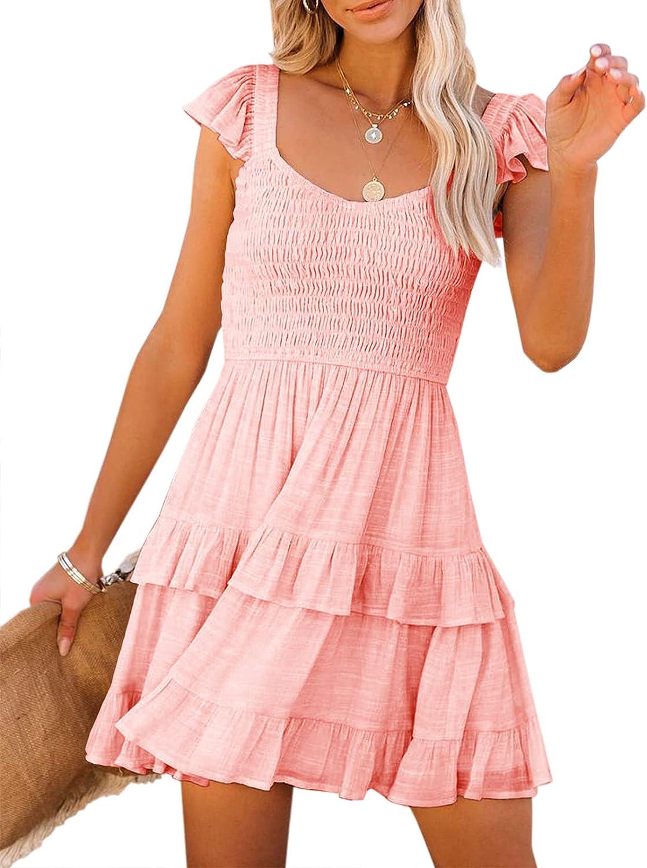 Womens Summer Dresses Casual Boho Smocked Ruffle Sun Beach Babydoll Mini Dress Layered Flowy Swing Dress