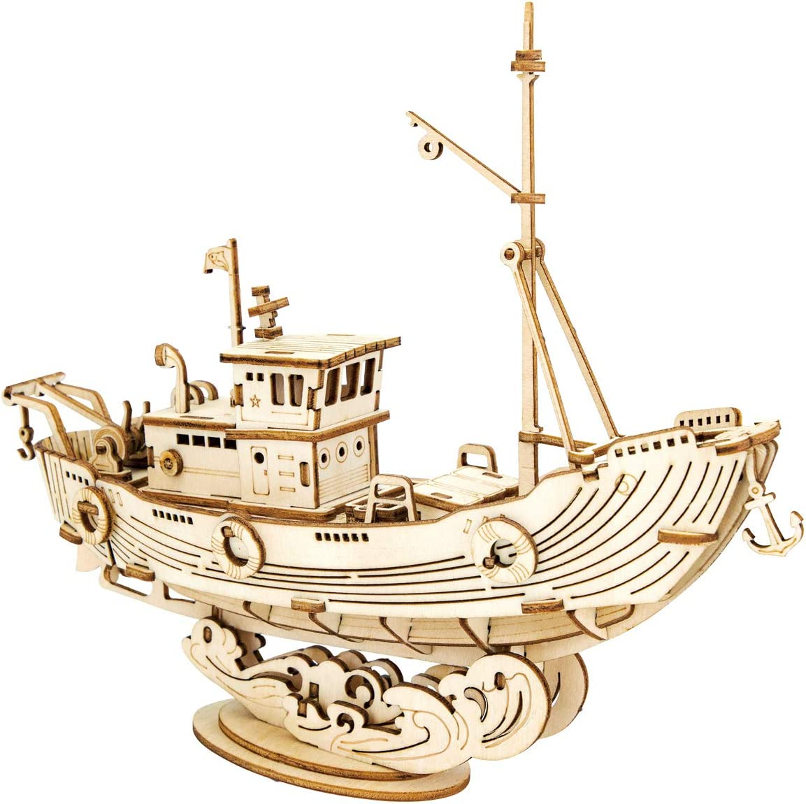 ROBOTIME 3D Wooden Puzzle for Kids and Adults Boat Building Kits Craft Brain Teaser DIY Kits for Children 8 Years Old and Up Fishing Ship