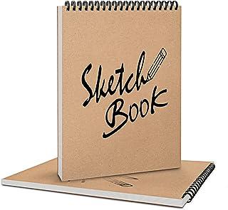 Coolzon Carnet de Dessin A4 Cahier de Dessin Professionnel, Carnet de Croquis A4 Double Spirale Crayon a Papier pour Enfan...
