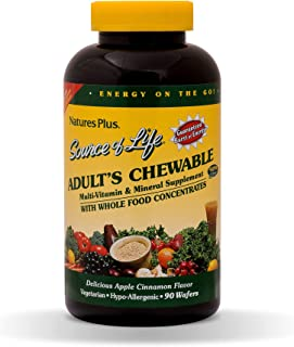 NaturesPlus Source of Life Adult Chewable Multivitamin 2 Pack - 90 Vegetarian Wafers - Apple Cinnamon Flavor - Natural Who...
