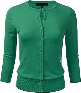 FLORIA Women's Button Down 3/4 Sleeve Crew Neck Knit...