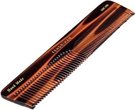 Fendrihan Hand Finished Large Double Tooth Comb for Men, Faux Tortoise (7.3 Inches)