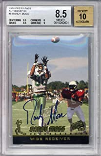 Randy Moss Signed Auto 1996 Press Pass Autographs Rookie Card Beckett BGS 8.5 10