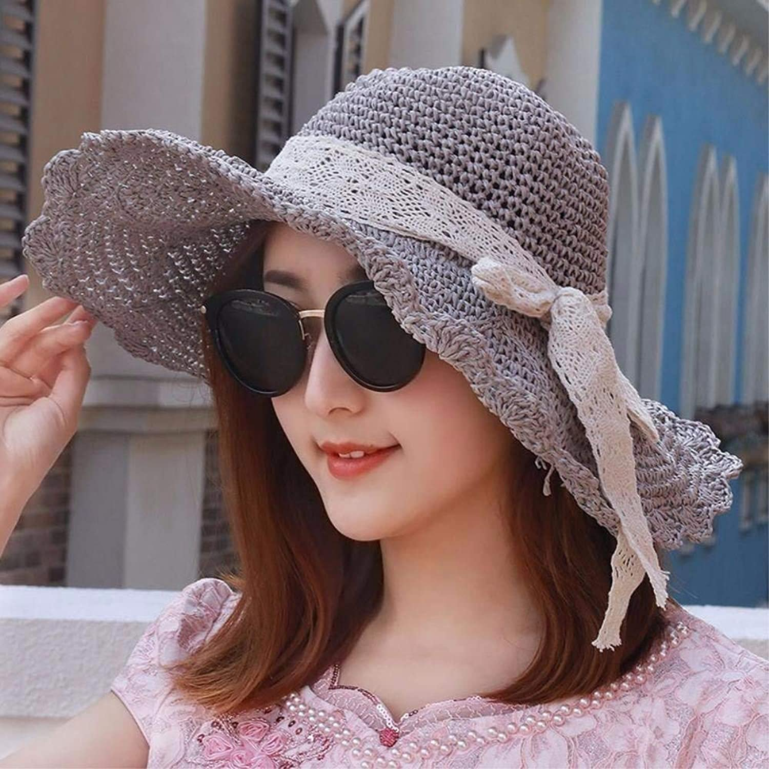 Beach Hat Hat The Girl to fold Lotus Leaves and Large Straw hat Along The Seaside Resort Beach Shaded Sun Cap Summer Sun Hat (color   Grey)