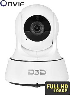 D3D inalámbrica Full HD (1920x 1080) P [CCTV IP WiFi Reloj en línea Demo Ahora Mismo] para Interiores cámara de Seguridad (Apoyo de hasta 128GB Tarjeta SD) (Blanco Color) Modelo: d6022y