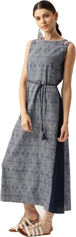 Desi Fusion Women Casual Tunic Long Printed ALine Maxi Dress (Navy bluee)