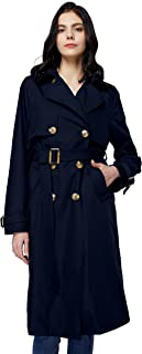 Women's 3/4 Length Double Breasted Trench Coat Lapel...