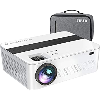 """JIFAR Native 1920x 1080P Projector 9000 Lux Upgrade Full HD Projector 4K with 450""""Display, Christmas Projector Support 4K Dolby Video & Zoom ,Compatible with TV Stick,HDMI,VGA.USB,Smartphone,PC"""